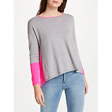 Buy Cocoa Cashmere Colour Block Zip Back Cashmere Jumper, Grey/Pink Online at johnlewis.com