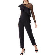Buy Coast Olly Frill Detail Mesh Sleeve Jumpsuit, Black Online at johnlewis.com