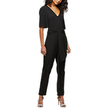 Buy Miss Selfridge Back Knot Jumpsuit, Black Online at johnlewis.com