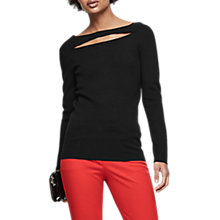 Buy Reiss Oria Slash Neck Knitted Top, Black Online at johnlewis.com