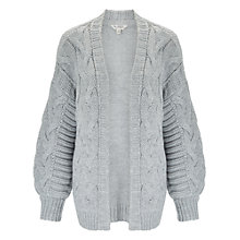 Buy Miss Selfridge Cable Cardigan, Grey Online at johnlewis.com
