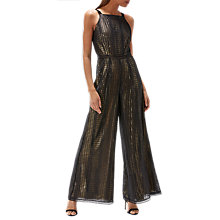 Buy Coast Steph Knitted Lace Wide Leg Jumpsuit, Black/Gold Online at johnlewis.com