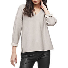 Buy Reiss Julietta Metallic Slouch V-Neck Jumper, Neutral Online at johnlewis.com