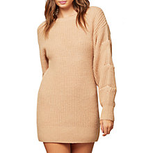 Buy Miss Selfridge Tuck Sleeve Tunic Jumper, Camel Online at johnlewis.com