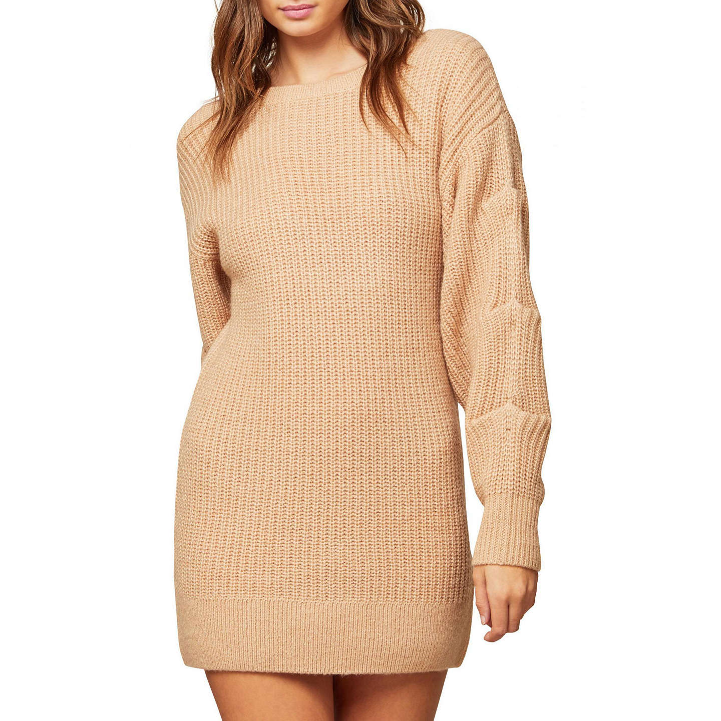 BuyMiss Selfridge Tuck Sleeve Tunic Jumper, Camel, 6 Online at johnlewis.com