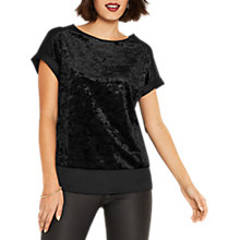Buy Oasis Crushed Velvet Roll Sleeve T-Shirt, Black Online at johnlewis.com