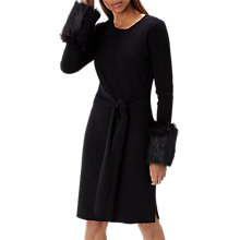 Buy Coast Tyra Faux Fur Knitted Dress, Black Online at johnlewis.com