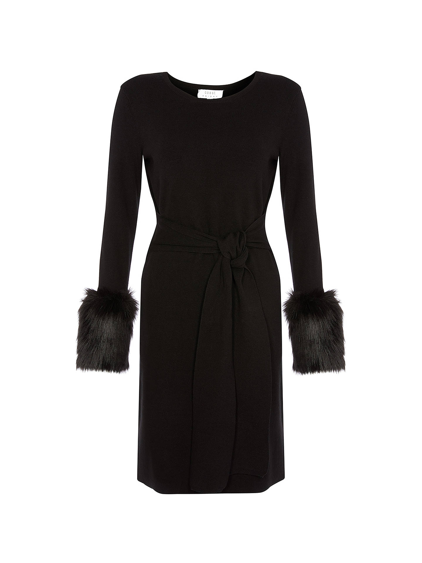 BuyCoast Tyra Faux Fur Knitted Dress, Black, 6 Online at johnlewis.com