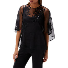 Buy Coast Souza Embroidered Mesh Top, Black Online at johnlewis.com