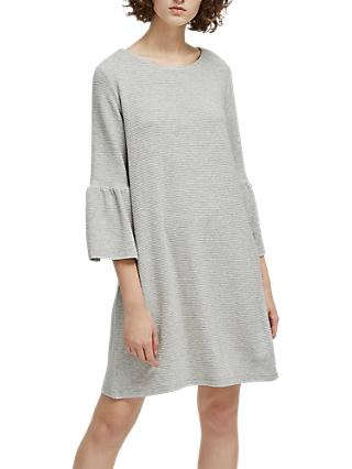 French Connection Paros Sudan Marl Flared Sleeve Dress, Light Grey Mel