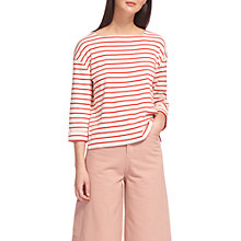Buy Whistles Breton Stripe Square Neck Top, White/Red Online at johnlewis.com