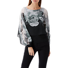 Buy Coast Mahonia Print Overlay Top, Black/White Online at johnlewis.com