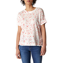 Buy Whistles Magnolia Print Linen T-Shirt, Multi Online at johnlewis.com