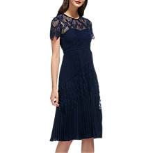 Buy Whistles Lace Pleated Dress, Navy Online at johnlewis.com