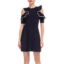 Buy Whistles Frill Cold Shoulder Knit Dress, Navy Online at johnlewis.com