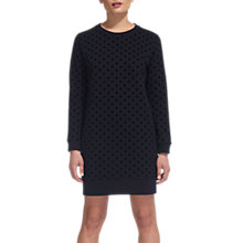 Buy Whistles Flocked Spot Sweater Dress, Navy/Multi Online at johnlewis.com