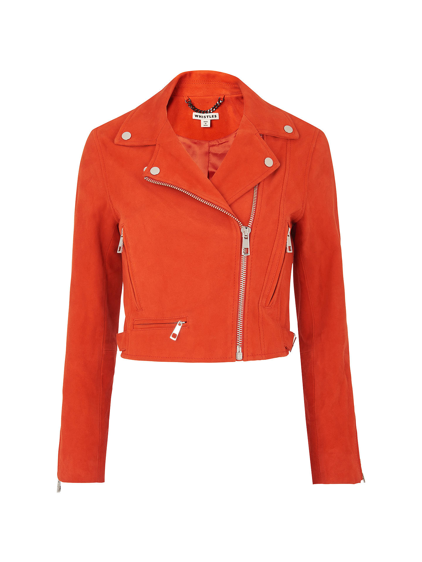huge inventory sneakers for cheap latest collection Whistles Rose Suede Crop Jacket, Orange at John Lewis & Partners