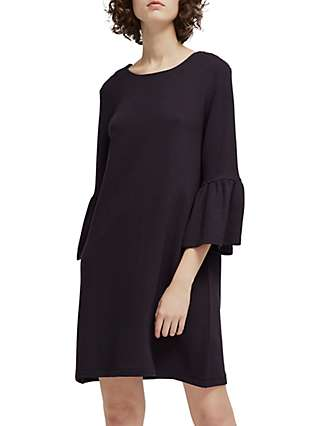 French Connection Paros Sudan Marl Flared Sleeve Dress, Utility Blue