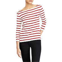 Buy Polo Ralph Lauren Stripe Cotton Boat Neck T-Shirt, Nevis/Martin Red Online at johnlewis.com