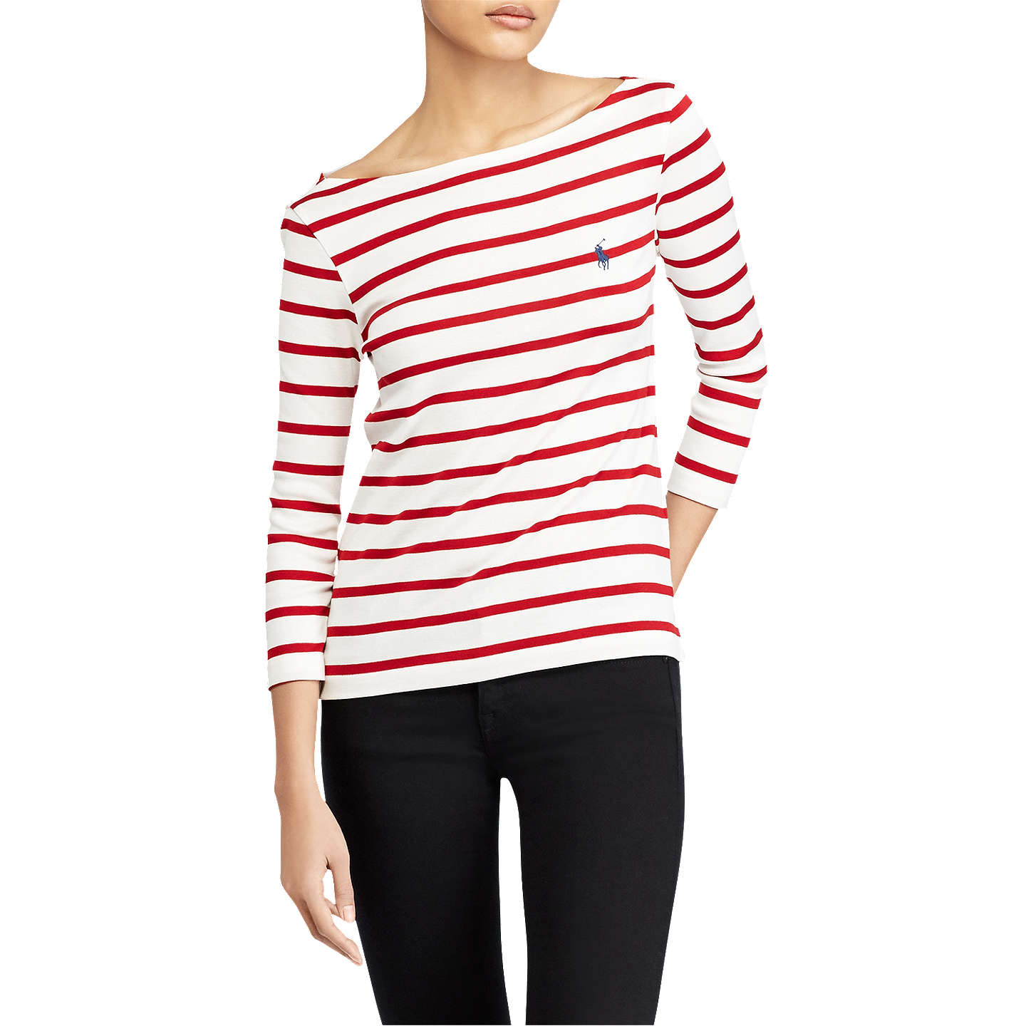 BuyPolo Ralph Lauren Stripe Cotton Boat Neck T-Shirt, Nevis/Martin Red, ...