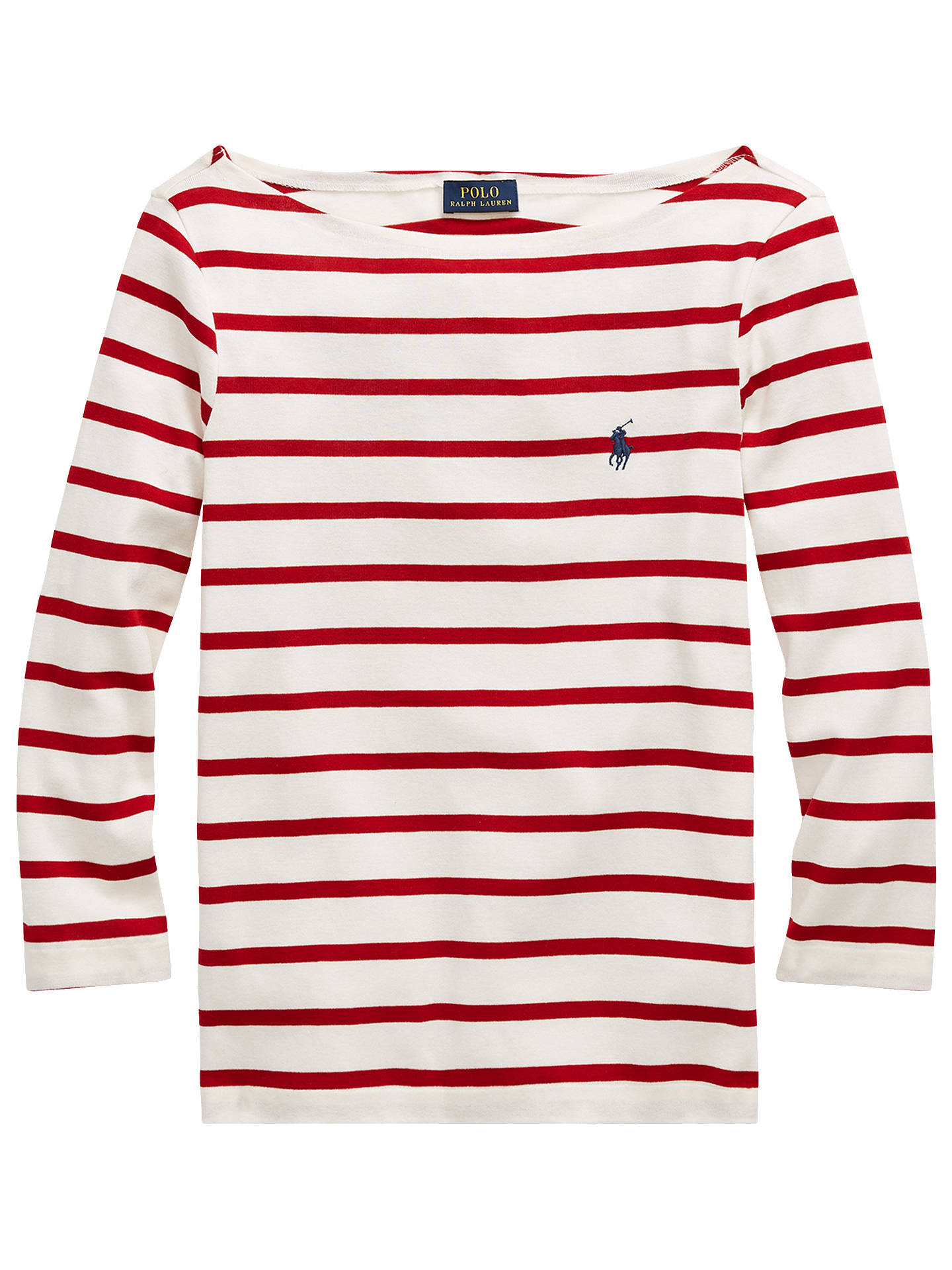 36b2225c134ae7 ... Buy Polo Ralph Lauren Stripe Cotton Boat Neck T-Shirt, Nevis/Martin Red
