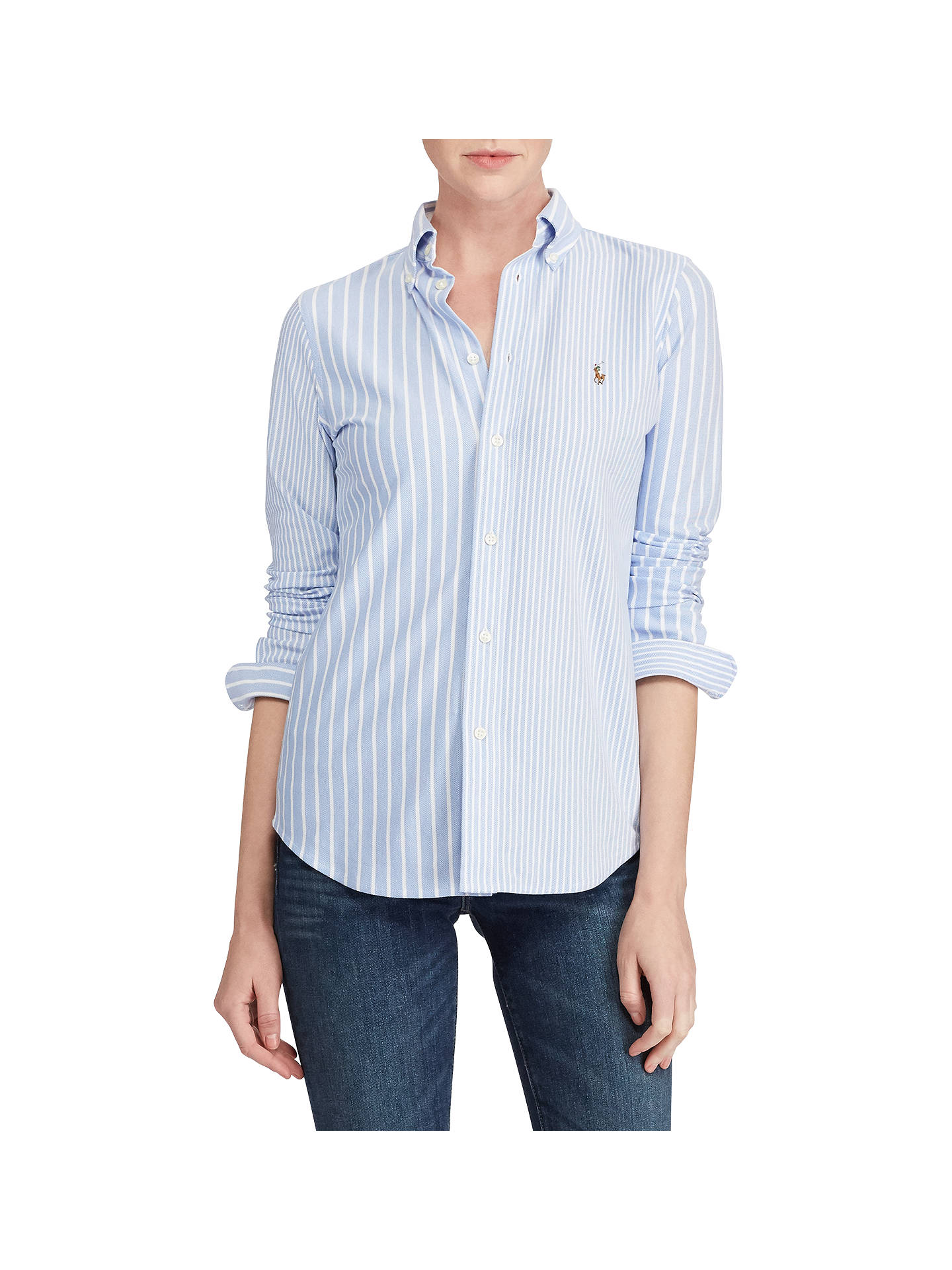 BuyPolo Ralph Lauren Heidi Slim Fit Shirt, Harbor Island Blue, XS Online at  johnlewis ... d31a771acc1d