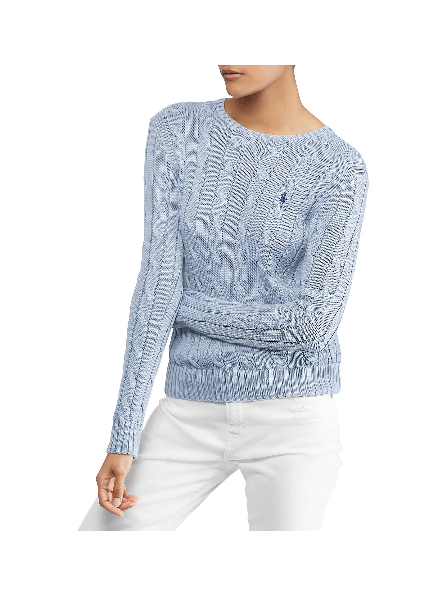 BuyPolo Ralph Lauren Julianna Cable Knit Cotton Jumper, Chambray, XS Online at johnlewis.com