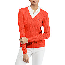 Buy Polo Ralph Lauren Kimberly Cotton Cable Jumper, Tomato Online at johnlewis.com