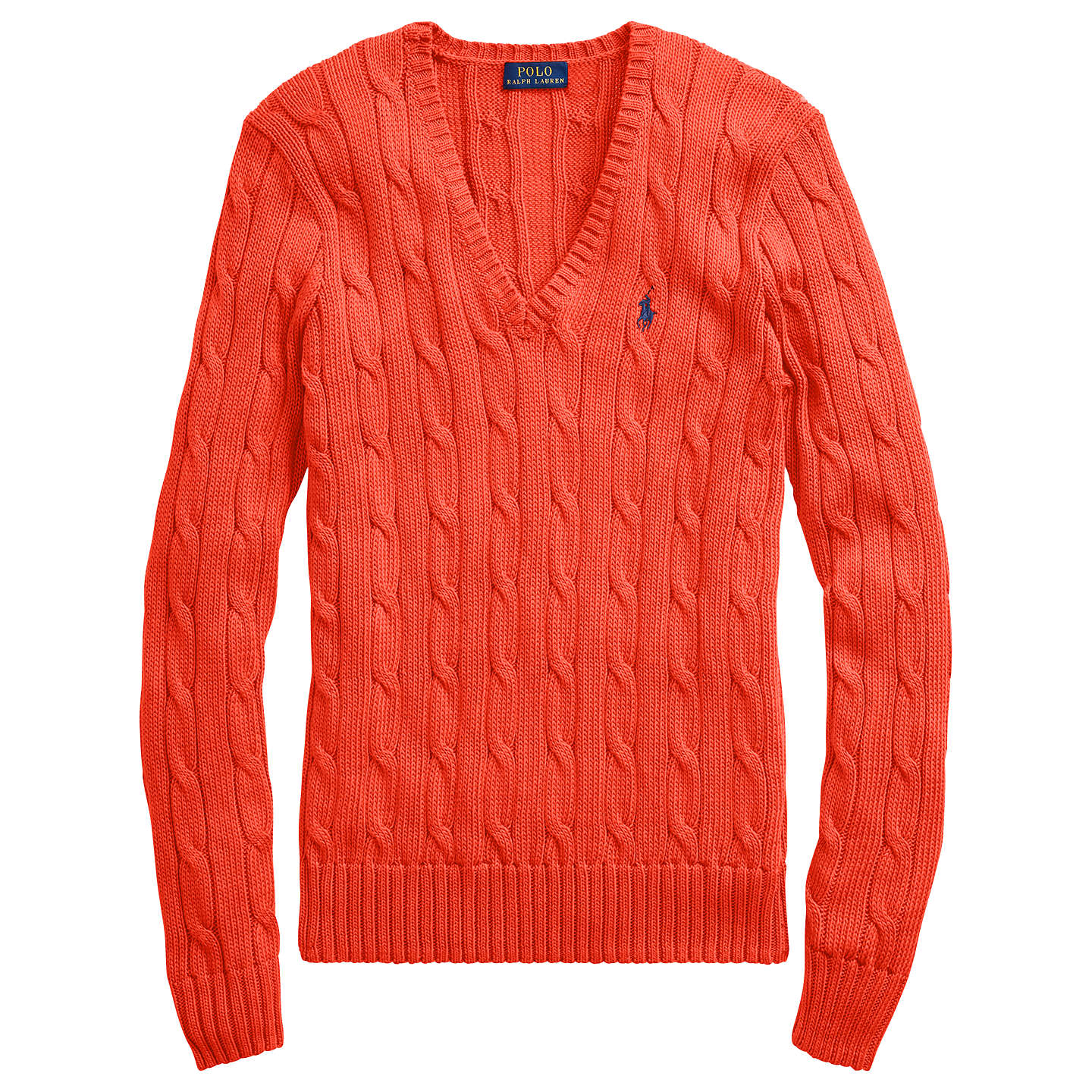 BuyPolo Ralph Lauren Kimberly Cotton Cable Jumper, Tomato, XS Online at johnlewis.com