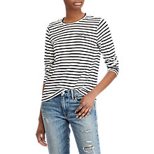 Buy Polo Ralph Lauren Striped Long Sleeve T-Shirt, Deckwash White/Polo Black Online at johnlewis.com
