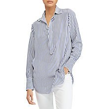 Buy Polo Ralph Lauren Striped Silk Popover Shirt, Navy/ Nevis Online at johnlewis.com