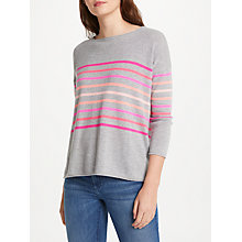 Buy Cocoa Cashmere Rainbow Stripe Jumper, Grey Online at johnlewis.com