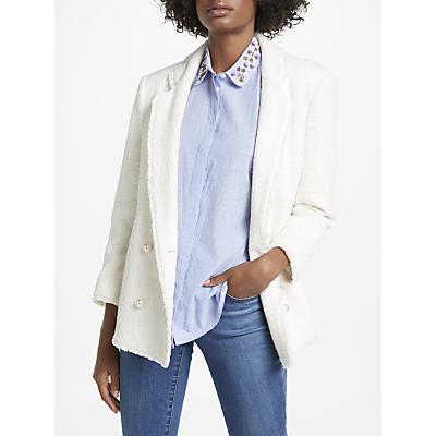 Helene For Denim Wardrobe Pearl Button Blazer, Ivory