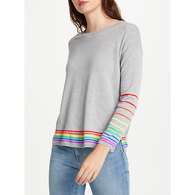 Cocoa Cashmere True Rainbow Stripe Cashmere Jumper, Grey