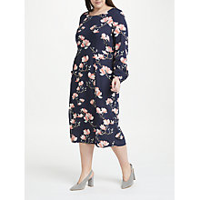 Buy JUNAROSE Anine Floral Print Midi Dress, Navy Online at johnlewis.com