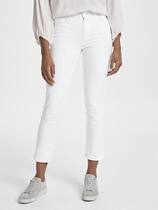 Paige Hoxton Straight Leg Cropped Jeans, Optic White