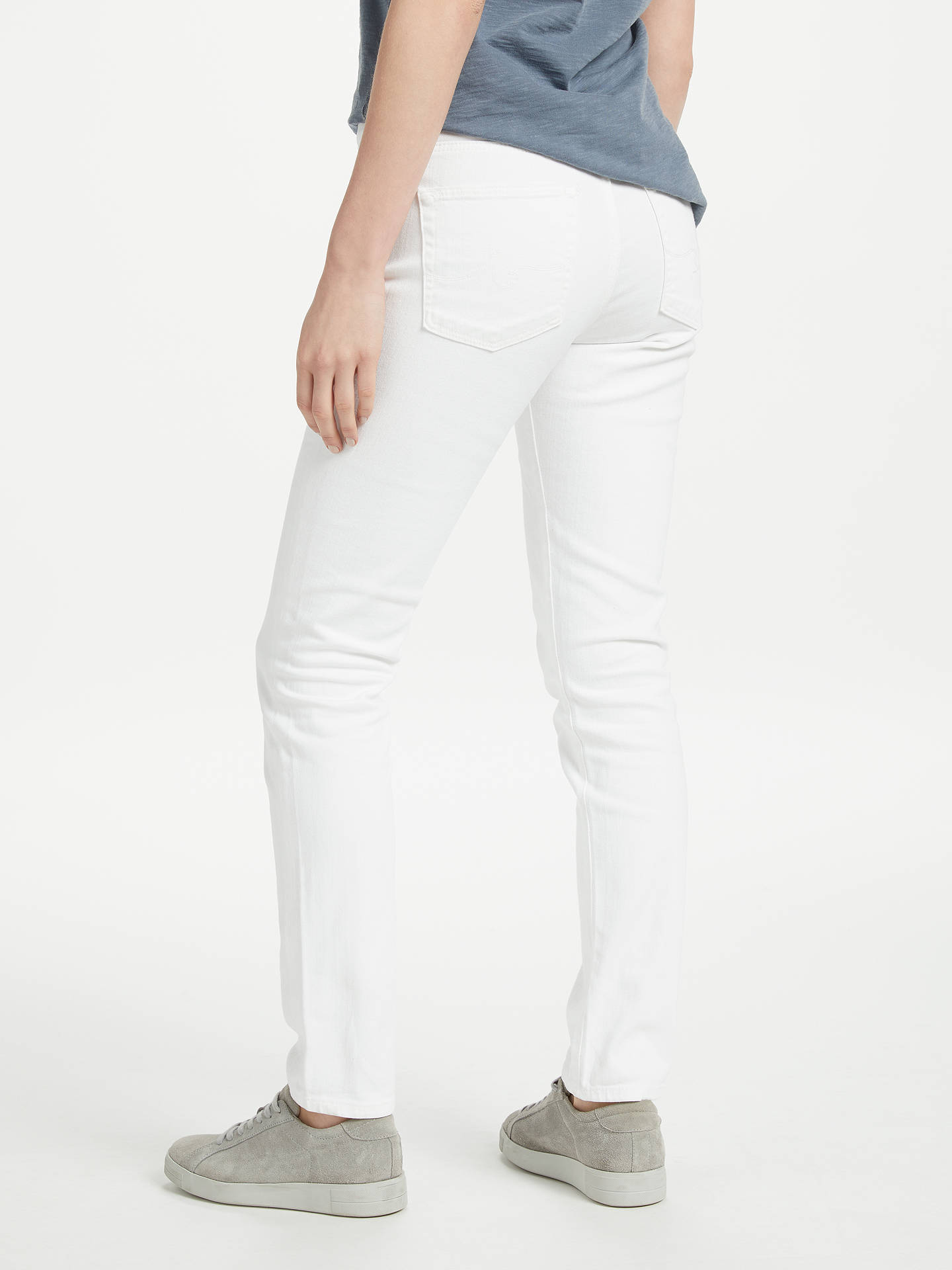 Buy AG The Prima Mid Rise Slim Jeans, White, 24 Online at johnlewis.com