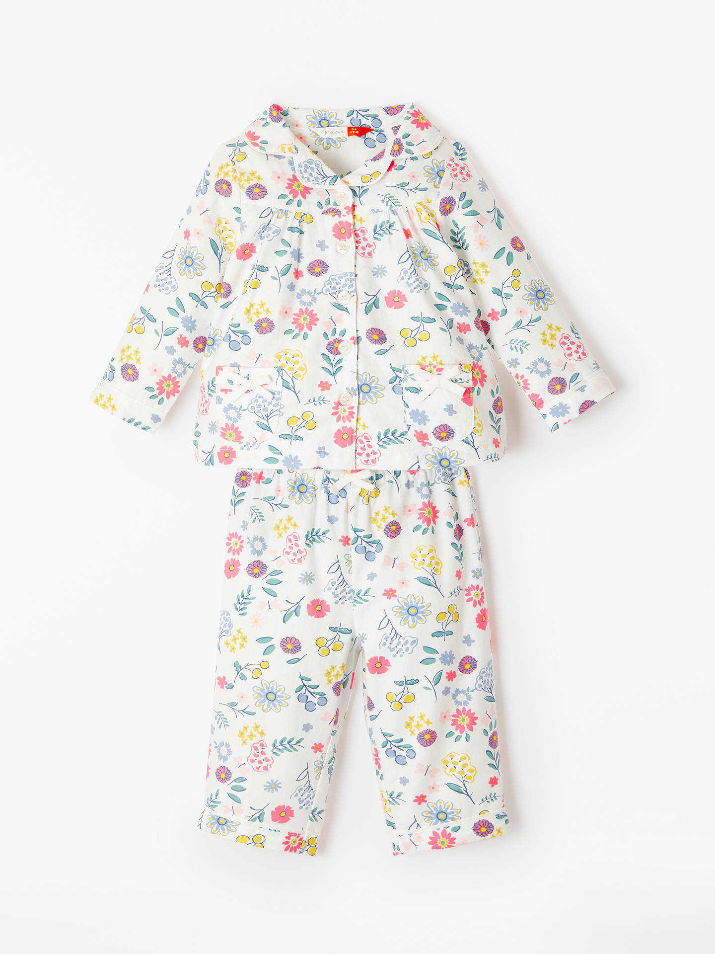 BuyJohn Lewis & Partners Floral Pyjama Top and Bottoms Set, Multi, 3-6 months Online at johnlewis.com