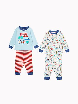 John Lewis & Partners Baby GOTS Organic Cotton London Pyjamas, Pack of 2, Blue/Red
