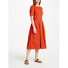 Buy Great Plains Betsey Broderie Midi Dress, Sunset Orange Online at johnlewis.com