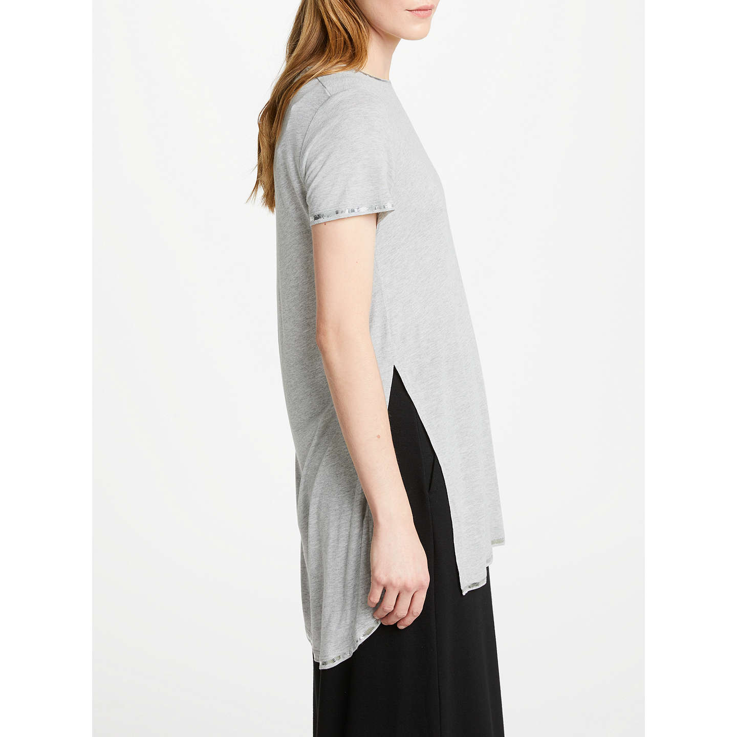 BuyGreat Plains Foil Finish Jersey Top, Grey Shimmer, XS Online at johnlewis.com
