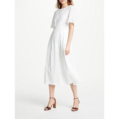 Great Plains Betsey Broderie Dress, Optic White
