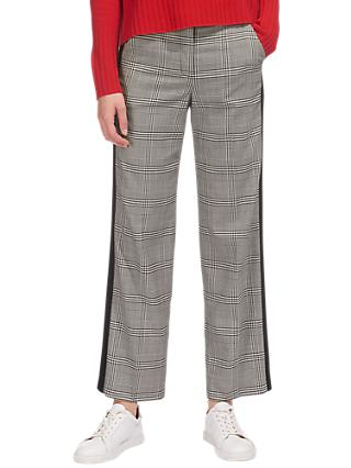 Whistles Check Wide Leg Side Stripe Trousers, Black and White
