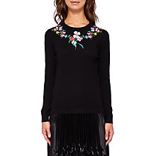 Buy Ted Baker Mekinzi Hampton Embroidered Jumper, Black Online at johnlewis.com