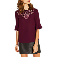 Buy Oasis Orla Trim Flute Sleeve Top, Berry Online at johnlewis.com