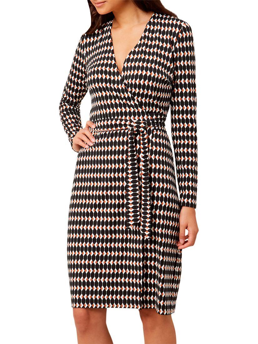 d7b670405cc Hobbs Delilah Wrap Dress, Black/Multi at John Lewis & Partners