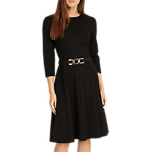Buy Phase Eight Belted Ponte Swing Dress, Black Online at johnlewis.com