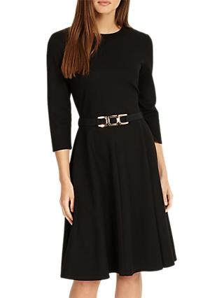 Phase Eight Belted Ponte Swing Dress, Black