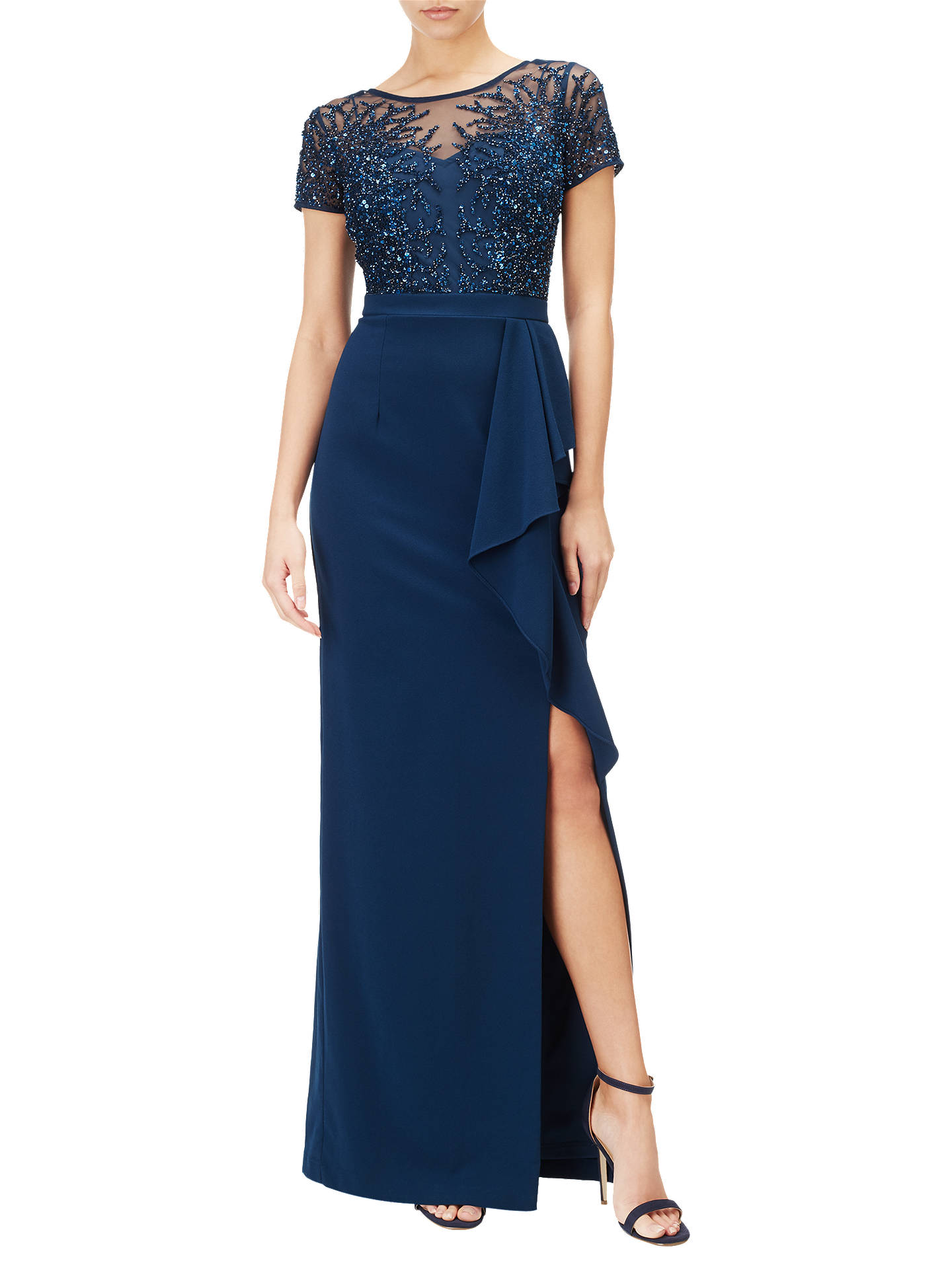 BuyAdrianna Papell Petite Beaded Gown, Deep Blue, 8 Online at johnlewis.com