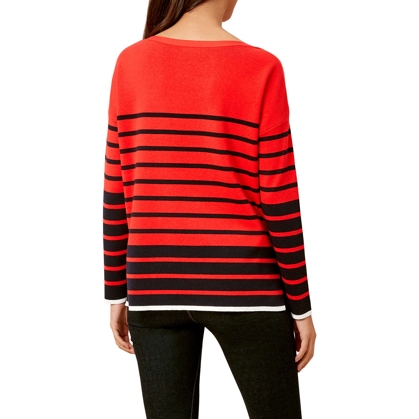 BuyHobbs Rhian Striped Jumper, Red/Navy, XS Online at johnlewis.com